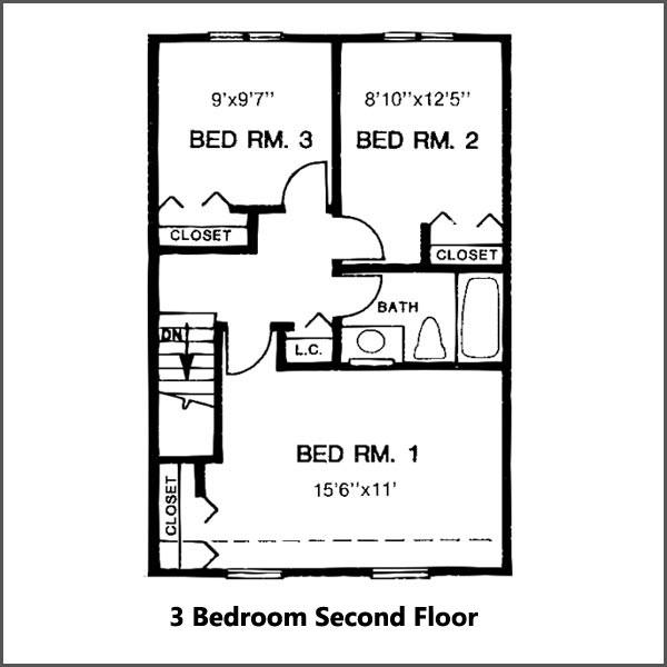 3 bedroom second floor
